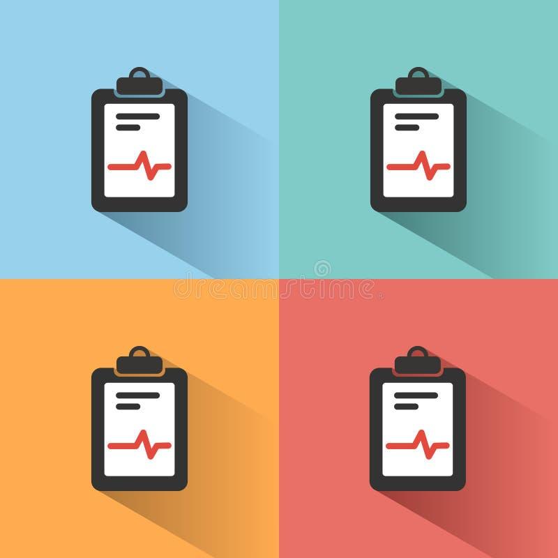 Icône médicale de diagramme sur les milieux colorés Rapport de cardiogramme Graphique de coeur illustration de vecteur