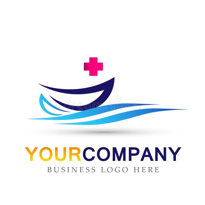 Icône médicale de logo de soins de santé avec le symbole de bateau de vagues et de bateau de mer sur le fond blanc illustration libre de droits
