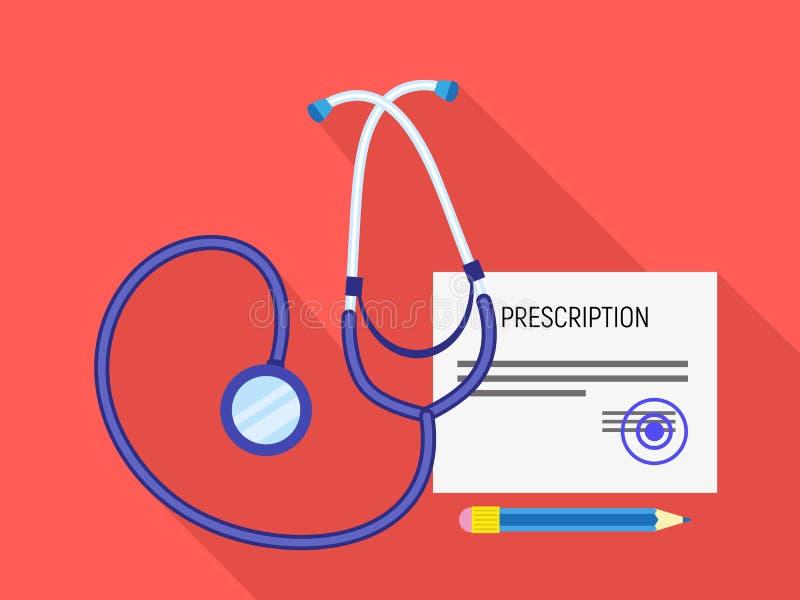 Icône médicale de prescription de stéthoscope, style plat illustration libre de droits