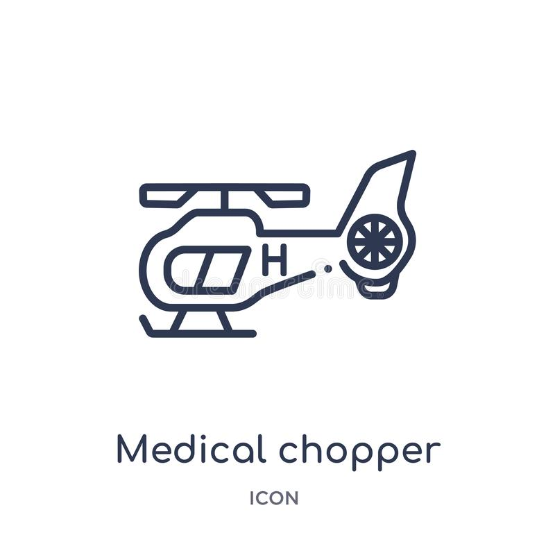 icône médicale de transport de couperet de collection d'ensemble de transport Ligne mince icône médicale de transport de couperet illustration stock