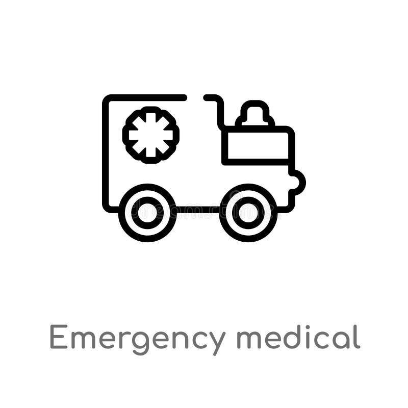 icône médicale de vecteur de véhicule de secours d'ensemble ligne simple noire d'isolement illustration d'?l?ment de concept de m illustration stock