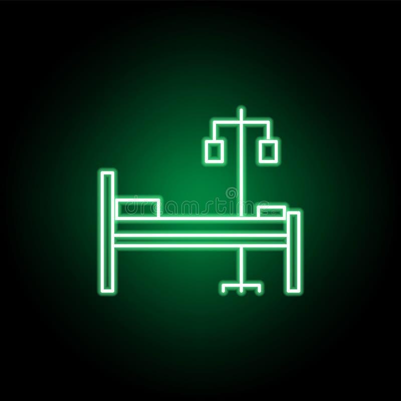Icône médicale et médicale de lit dans le style au néon ?l?ment d'illustration de m?decine Des signes et l'ic?ne de symboles peuv illustration libre de droits