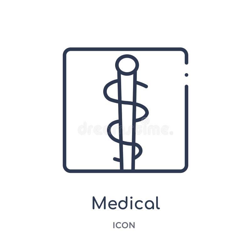 Icône médicale linéaire de la collection vigilante d'ensemble Ligne mince vecteur médical d'isolement sur le fond blanc à la mode illustration stock