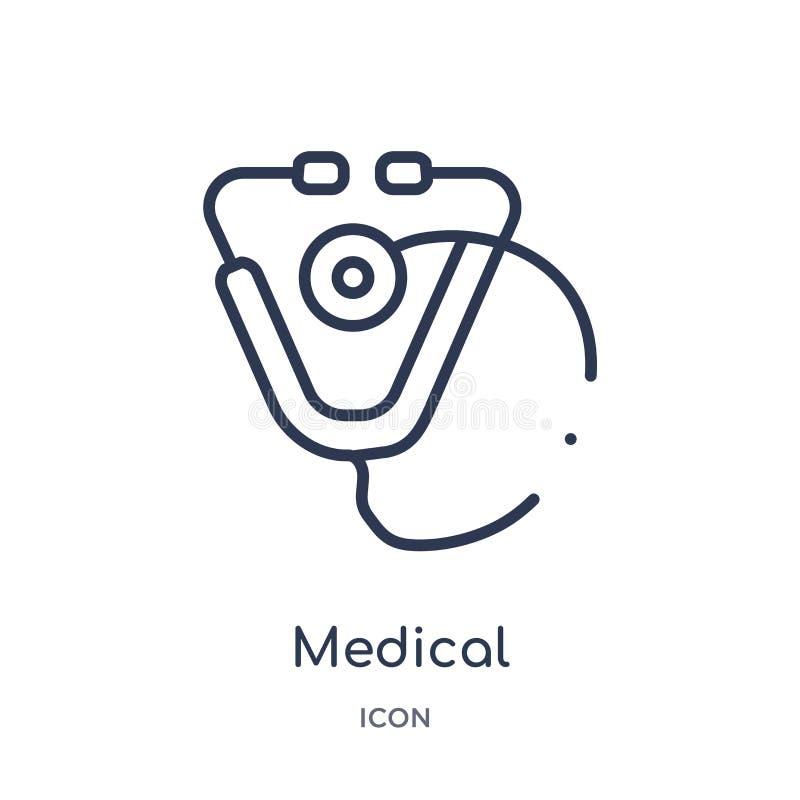Icône médicale linéaire de stéthoscope de la collection médicale d'ensemble Ligne mince icône médicale de stéthoscope d'isolement illustration libre de droits
