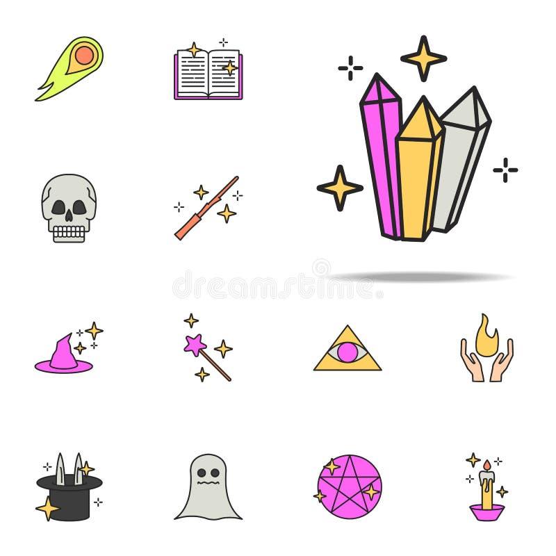 icône magique de cristaux ensemble universel d'icônes magiques pour le Web et le mobile illustration libre de droits