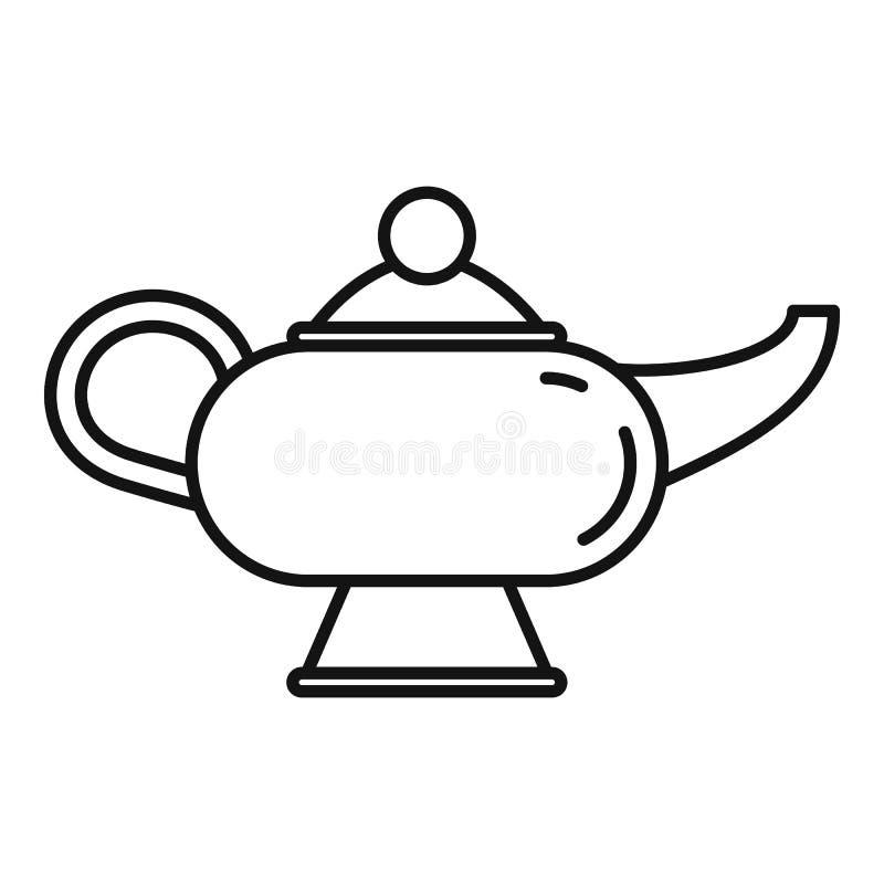 Icône magique de lampe de djinn, style d'ensemble illustration de vecteur