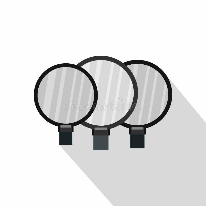 Icône magnifiée de lentilles, style plat illustration de vecteur