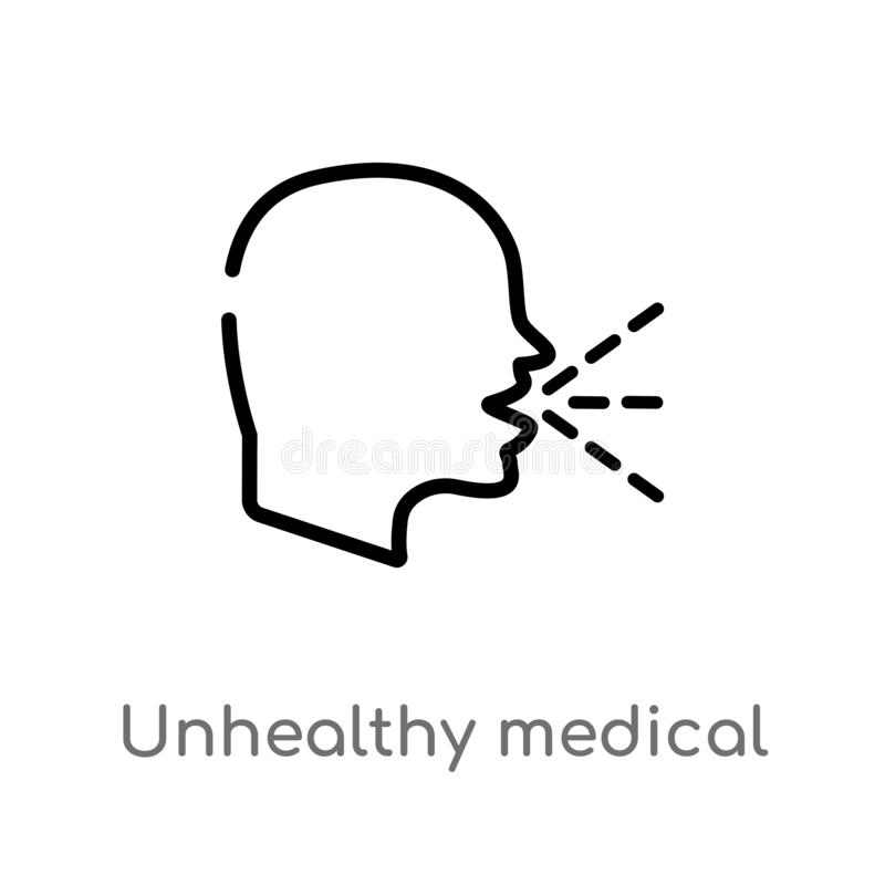 icône malsaine de vecteur de condition médicale d'ensemble ligne simple noire d'isolement illustration d'élément de concept médic illustration de vecteur
