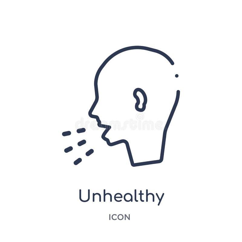 Icône malsaine linéaire de condition médicale de la collection médicale d'ensemble Ligne mince icône malsaine de condition médica illustration stock
