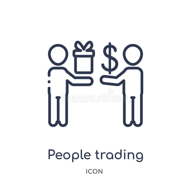 Icône marchande de personnes linéaires de collection d'ensemble d'humains Ligne mince icône marchande de personnes d'isolement su illustration libre de droits