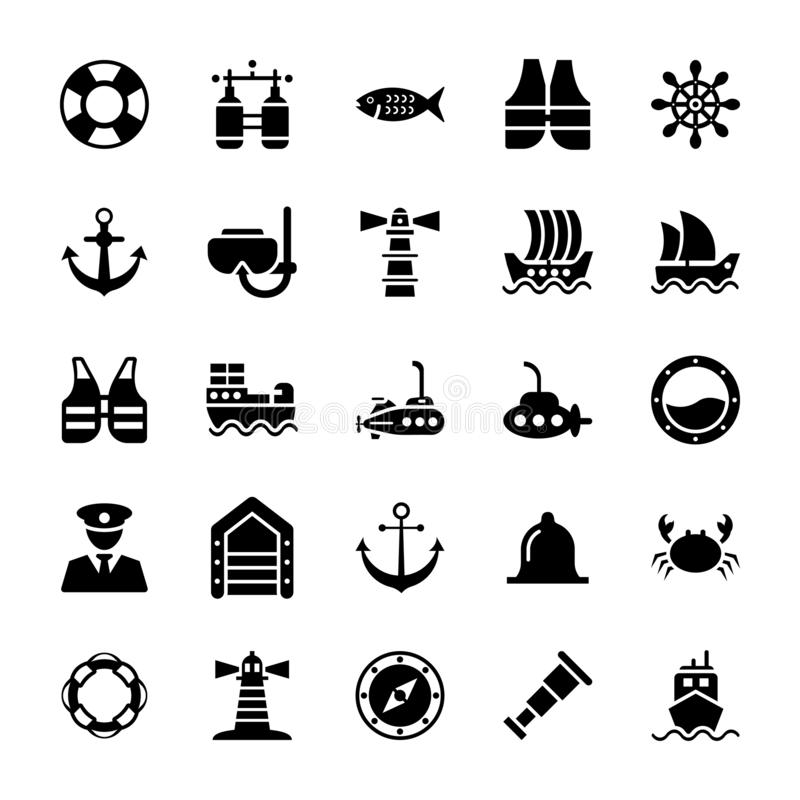 Icône marine de glyph illustration de vecteur
