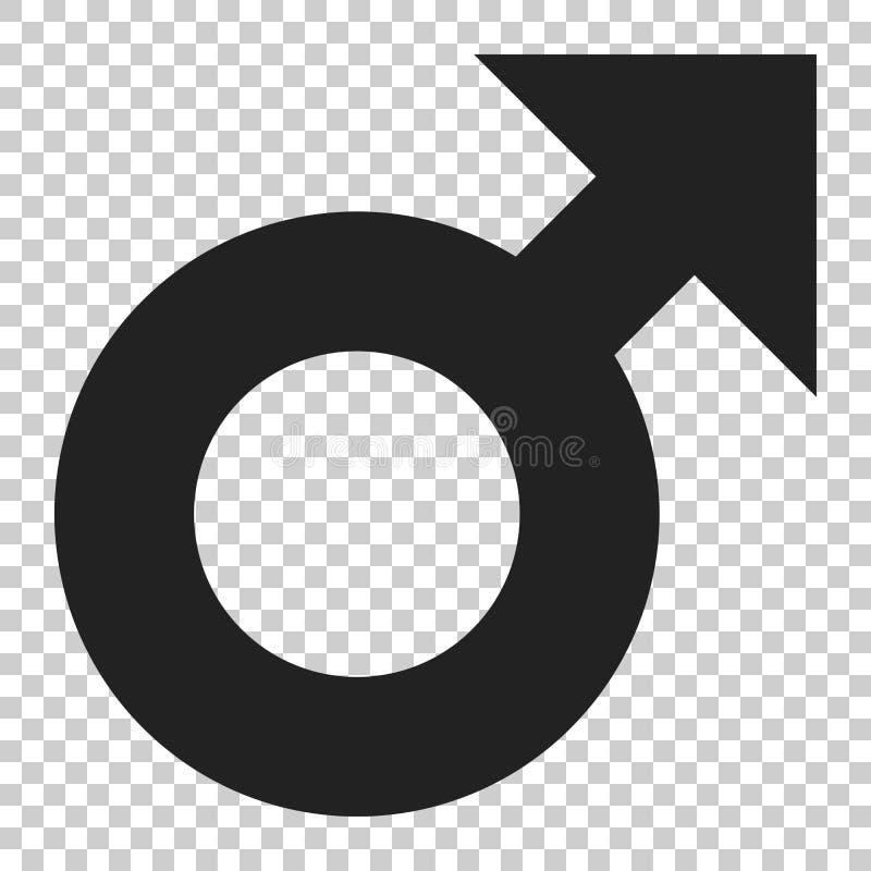Icône masculine de vecteur de symbole de sexe dans le style plat Illustrati de genre d'hommes illustration libre de droits