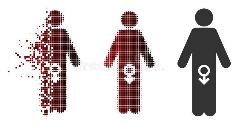 Icône masculine tramée d'impuissance de pixel d'étincelle illustration libre de droits