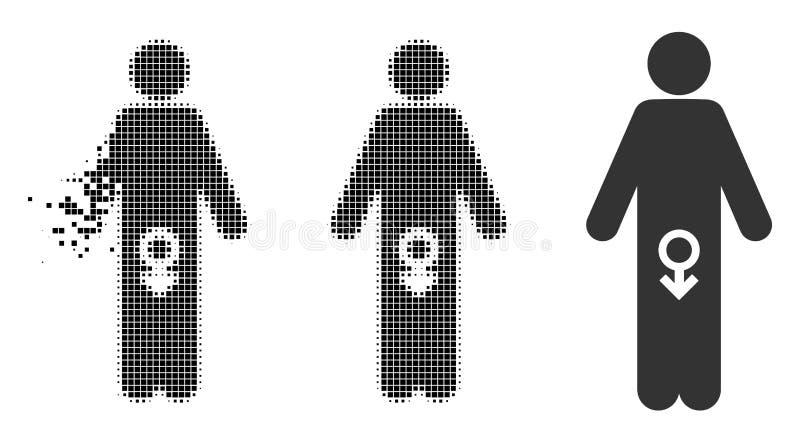 Icône masculine tramée dispersée d'impuissance de pixel illustration stock