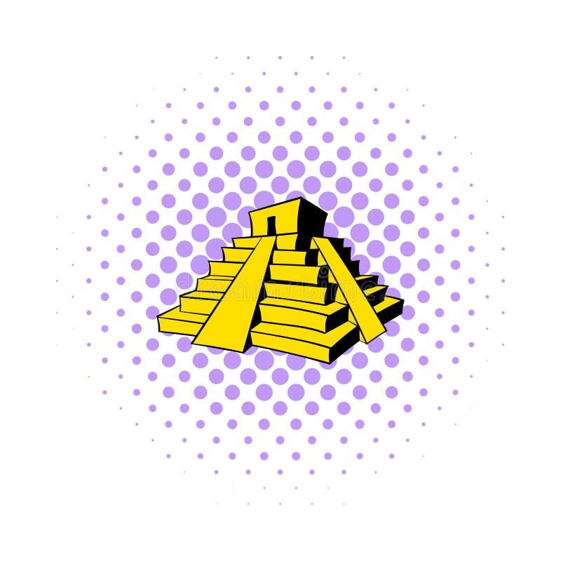 Icône maya de pyramide, style de bandes dessinées illustration libre de droits