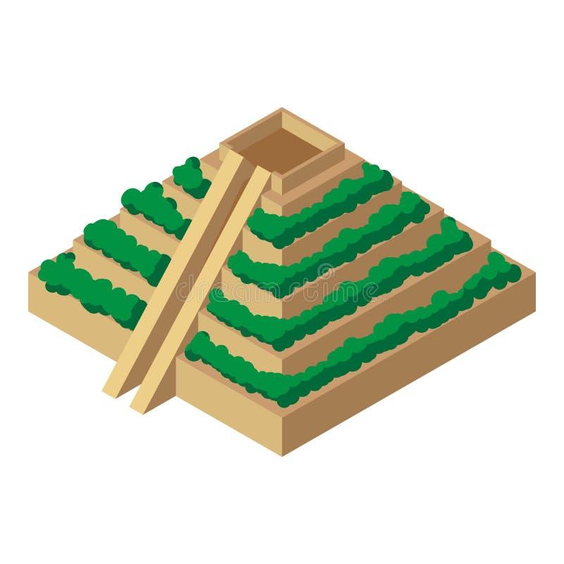 Icône maya de pyramide, styles isométriques illustration stock