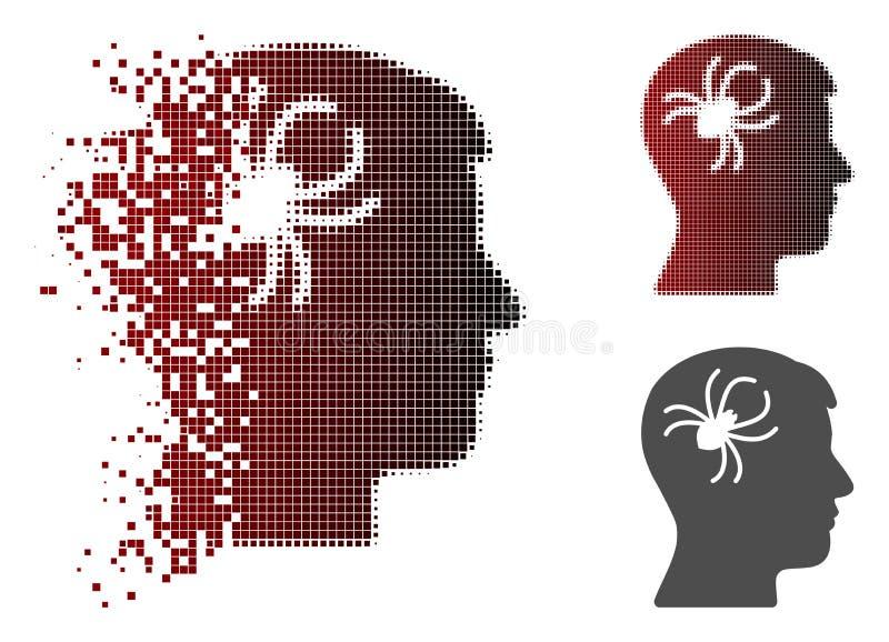 Icône mentale tramée réduite en fragments d'araignée de parasite de Pixelated illustration stock