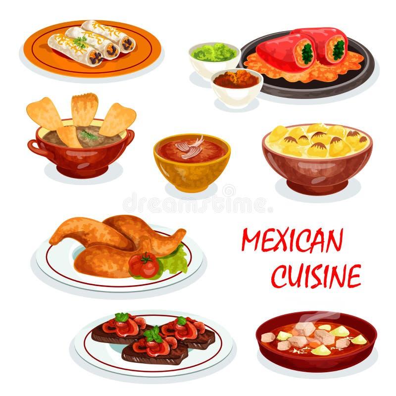 Icône mexicaine de dîner de cuisine avec le casse-croûte et la sauce illustration libre de droits