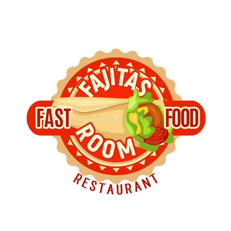 Icône mexicaine de vecteur de restaurant d'aliments de préparation rapide de Fajitas illustration stock