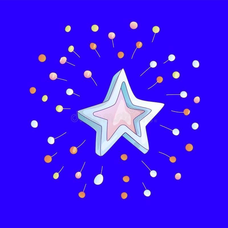 Icône mignonne d'étoile de bande dessinée avec des étincelles sur le fond bleu Étoile bleue et rose de bande dessinée avec l'icôn illustration libre de droits