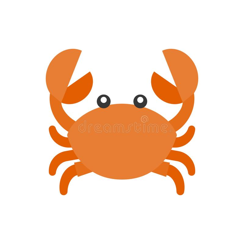 Icône mignonne de bande dessinée de crabe illustration libre de droits