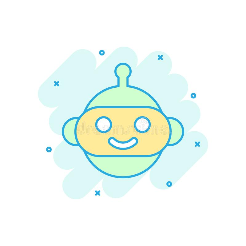 Icône mignonne de chatbot de robot dans le style comique Pictogramme d'illustration de bande dessinée de vecteur d'opérateur de B illustration de vecteur