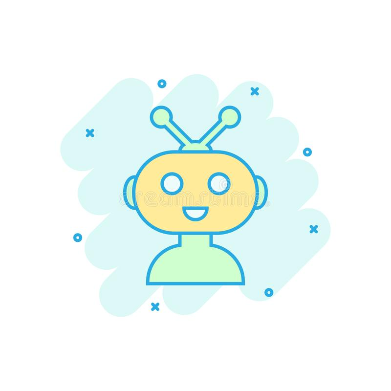Icône mignonne de chatbot de robot dans le style comique Pictogramme d'illustration de bande dessinée de vecteur d'opérateur de B illustration libre de droits