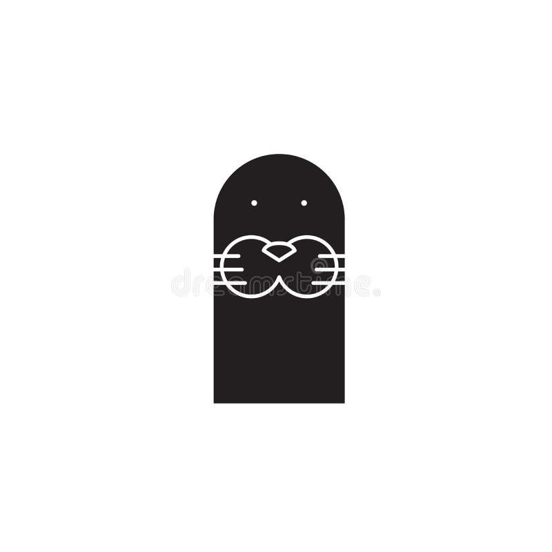 Icône mignonne de concept de vecteur de noir de tête de joint Illustration plate de tête mignonne de joint, signe illustration stock