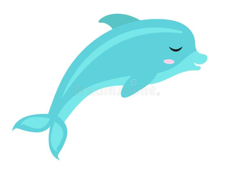 Icône mignonne de dauphin, plate, style de bande dessinée D'isolement sur le fond blanc Illustration de vecteur illustration de vecteur