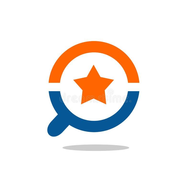 Icône mignonne de loupe et d'étoile, conception d'illustration de vecteur illustration stock