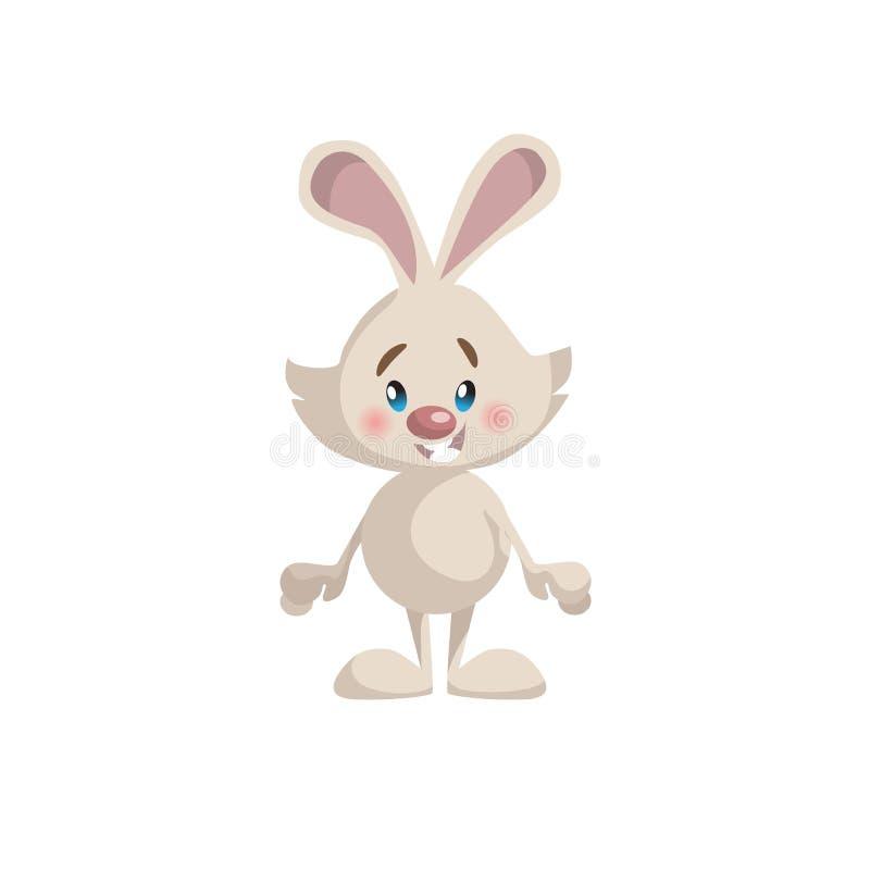 Icône mignonne de mascotte de lapin de style à la mode de bande dessinée Illustration simple de vecteur de gradient illustration de vecteur
