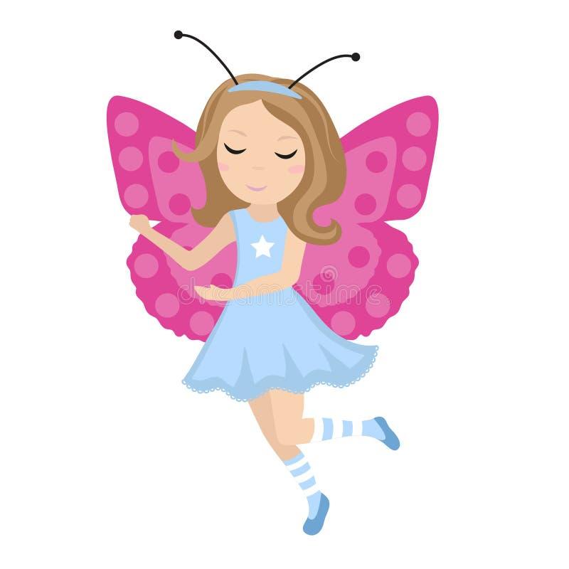 Icône mignonne de papillon de fille dans l'appartement, style de bande dessinée Costume de carnaval de bébé D'isolement sur le fo illustration libre de droits