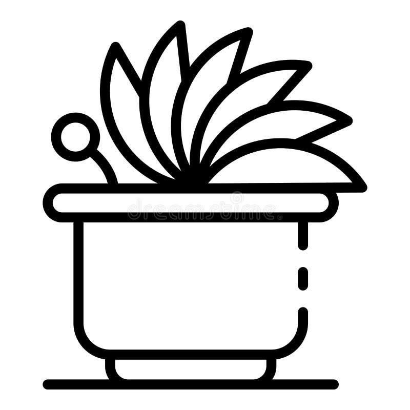 Icône mignonne de plante d'intérieur, style d'ensemble illustration stock