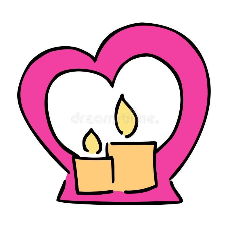 Icône mignonne de vecteur de couleur de jour de valentines de bougie illustration de vecteur