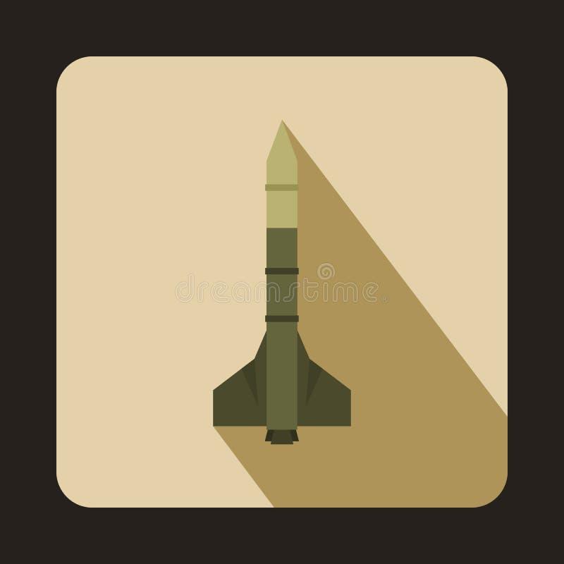 Icône militaire d'arme de fusée, style plat illustration de vecteur