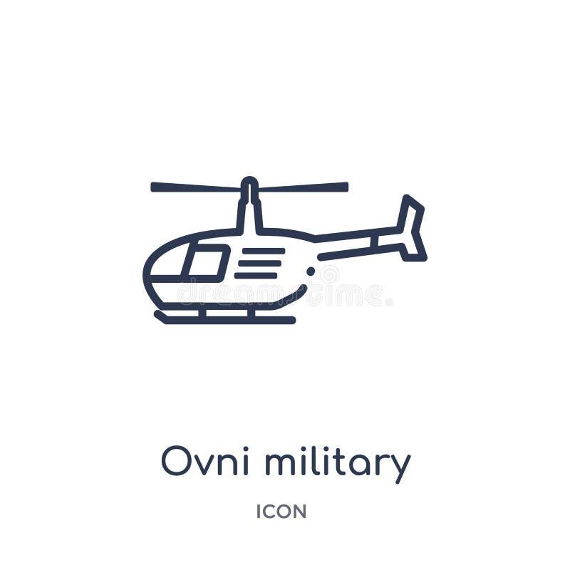 Icône militaire de transport d'ovni linéaire de collection d'ensemble d'armée Ligne mince vecteur militaire de transport d'ovni d illustration libre de droits