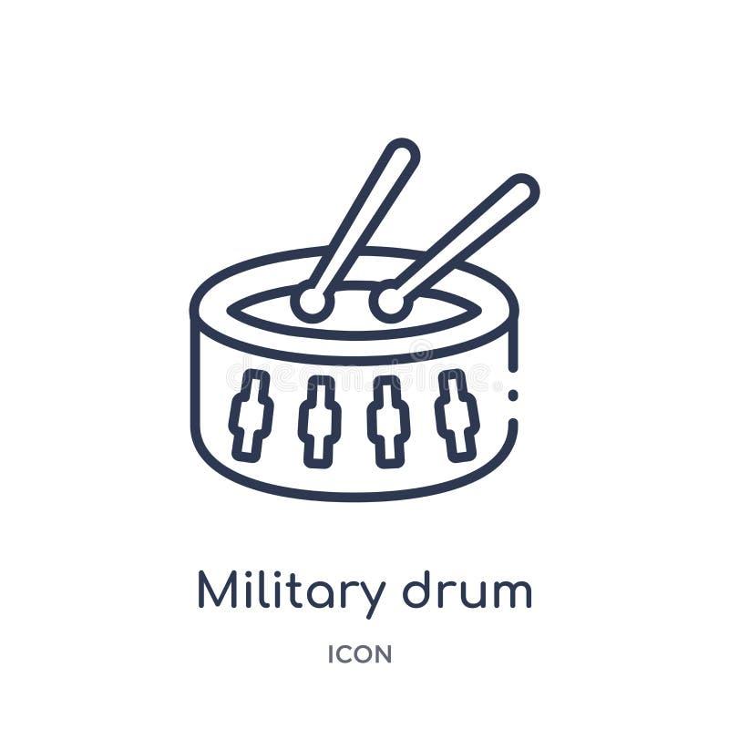 Icône militaire linéaire d'instrument de musique de tambour de collection d'ensemble d'armée Ligne mince vecteur militaire d'inst illustration stock