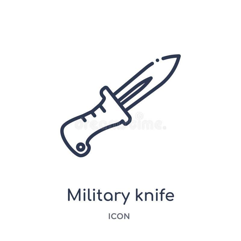 Icône militaire linéaire de couteau de collection d'ensemble d'armée et de guerre Ligne mince vecteur militaire de couteau d'isol illustration de vecteur