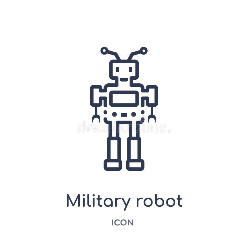 Icône militaire linéaire de machine de robot de collection d'ensemble d'armée Ligne mince vecteur militaire de machine de robot d illustration de vecteur