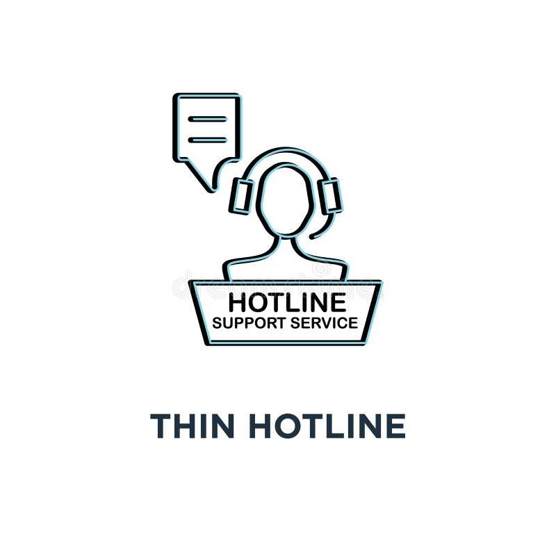 icône mince rouge de service de support de ligne directe, contact d'aide du symbole 24/7 pour le client par le conseiller ou styl illustration de vecteur