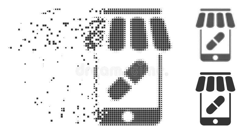 Icône mobile d'image tramée de pixel de pharmacie en ligne illustration stock