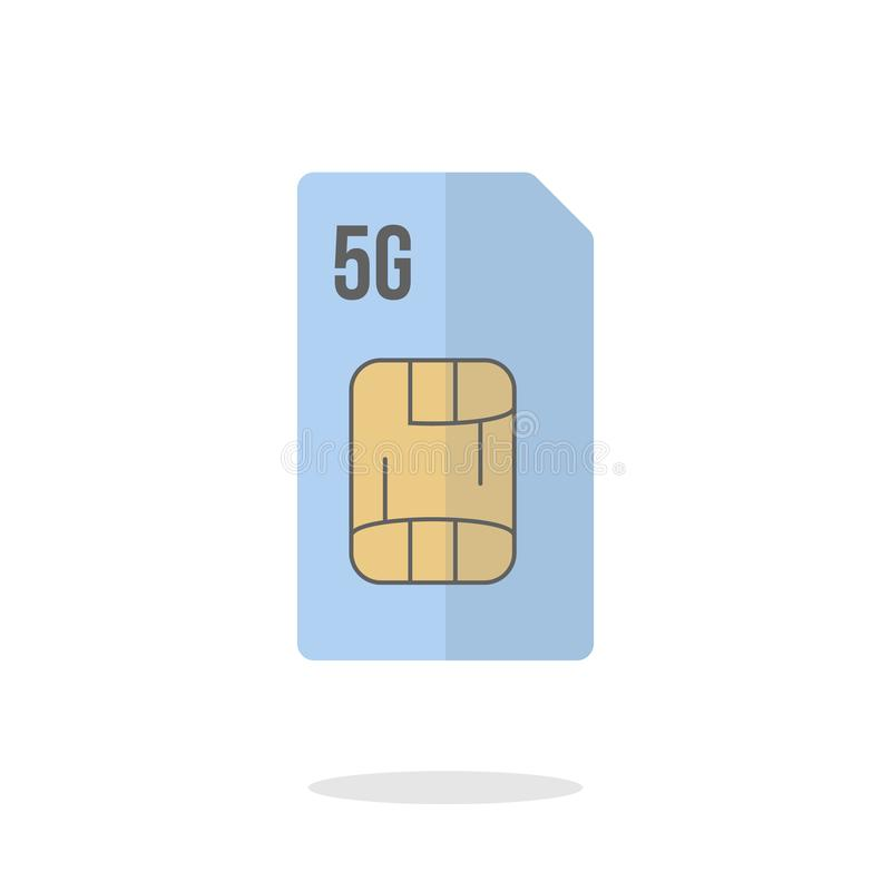 Ic?ne mobile de carte du sim 5g Illustration plate de vecteur de conception illustration de vecteur