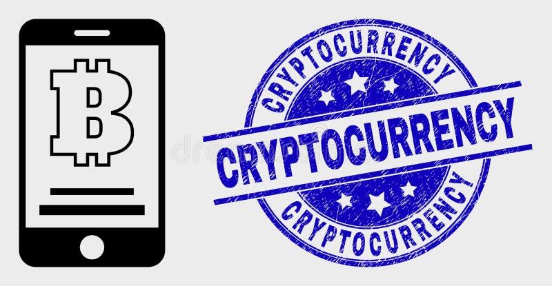 Icône mobile linéaire de compte de Bitcoin de vecteur et joint grunge de timbre de Cryptocurrency illustration stock