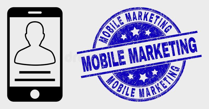 Icône mobile linéaire de contact de personne de vecteur et timbre de commercialisation mobile grunge illustration stock