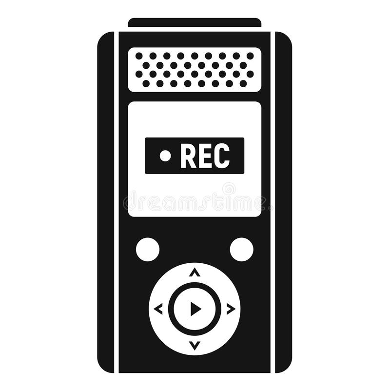 Icône moderne de dictaphone, style simple illustration stock