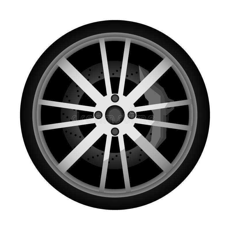 Icône moderne de roue de voiture de vue de côté illustration stock