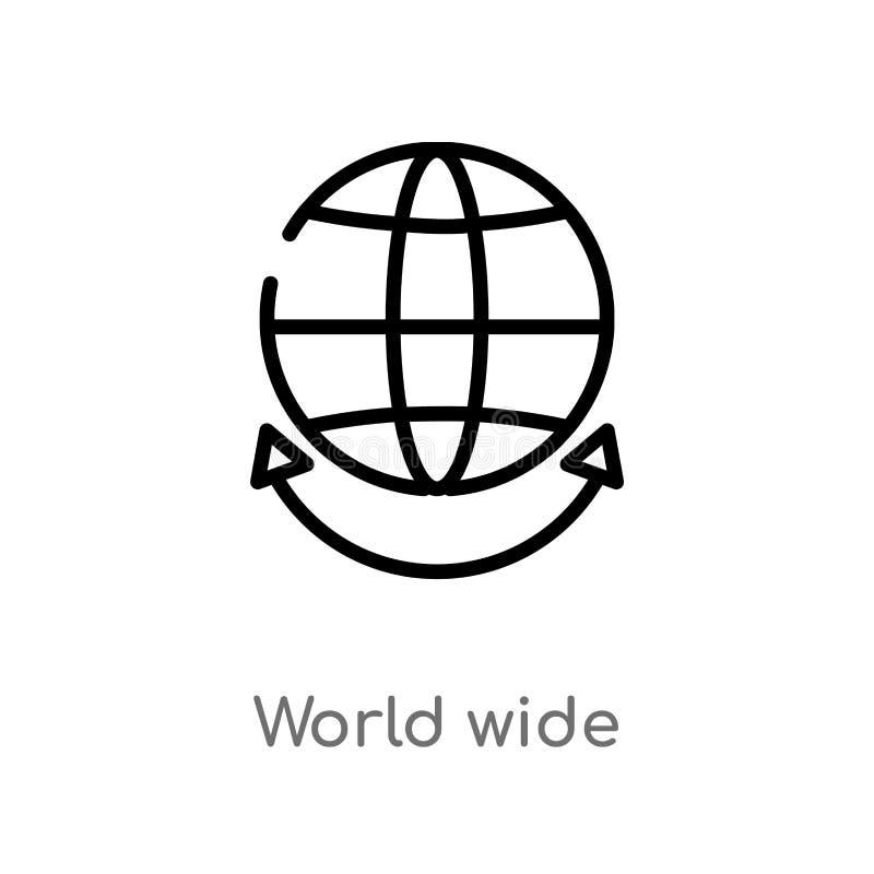 icône mondiale de vecteur d'ensemble ligne simple noire d'isolement illustration d'élément de concept de multimédia Course Editab illustration libre de droits