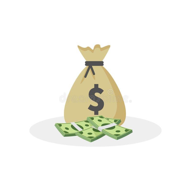Icône, moneybag et symbole dollar de vecteur de sac d'argent d'isolement sur le fond blanc, illustration de vecteur illustration de vecteur