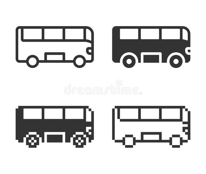 Ic?ne monochromatique d'autobus dans diff?rentes variantes illustration stock