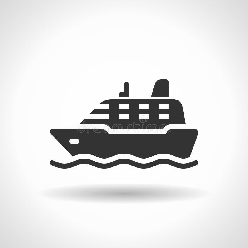 Icône monochromatique de bateau avec l'ombre planante d'effet illustration libre de droits